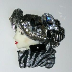 Vintage embellished lady brooch